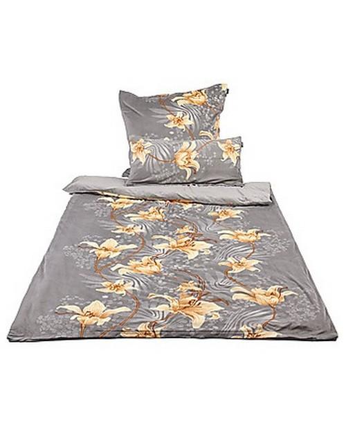 mikrofaser bettw sche lilien 4 teilig anthrazit. Black Bedroom Furniture Sets. Home Design Ideas