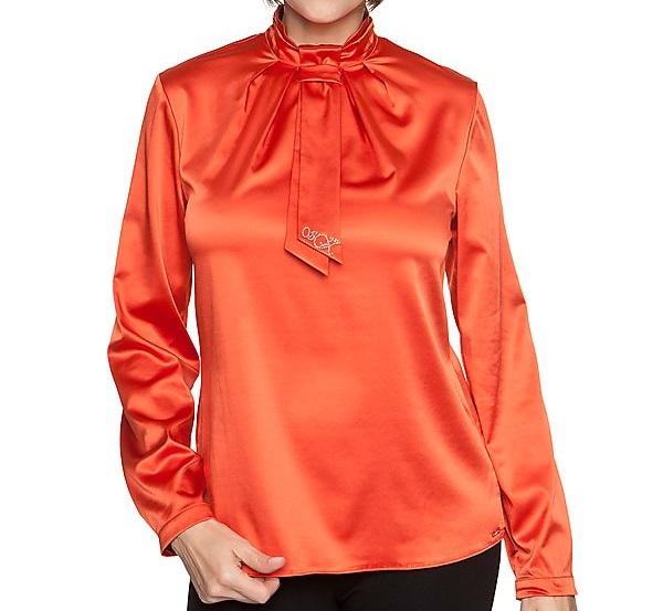 elegante bluse mit schluppe orange gr 44 ebay. Black Bedroom Furniture Sets. Home Design Ideas