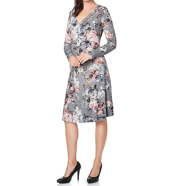 couture kleid mit blumendruck melange gr 46 ebay. Black Bedroom Furniture Sets. Home Design Ideas