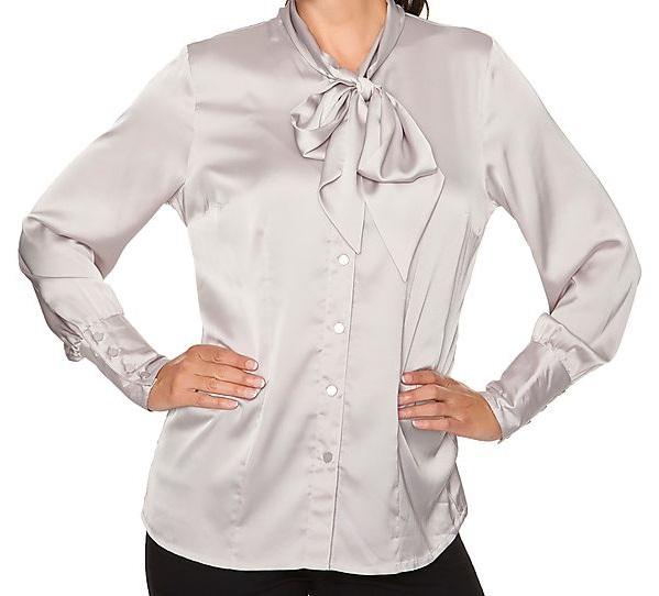bluse mit schluppe silber gr 46 ebay. Black Bedroom Furniture Sets. Home Design Ideas