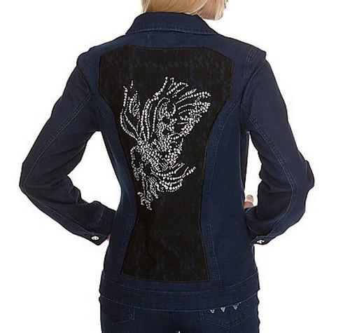 8 2 rockige jeansjacke mit strass adler jeansblau gr 34 uvp 99 98 ebay. Black Bedroom Furniture Sets. Home Design Ideas