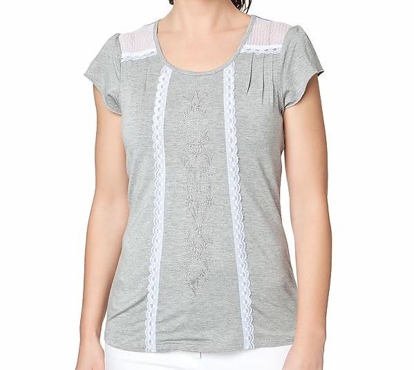 t17 shirt mit spitze stickerei grau gr 48 ebay. Black Bedroom Furniture Sets. Home Design Ideas