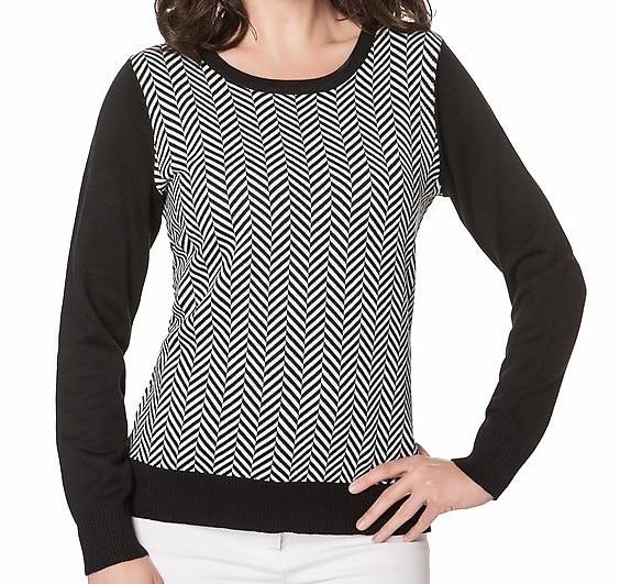 76339 Pullover mit ZickZack Muster schwarzweiss Gr