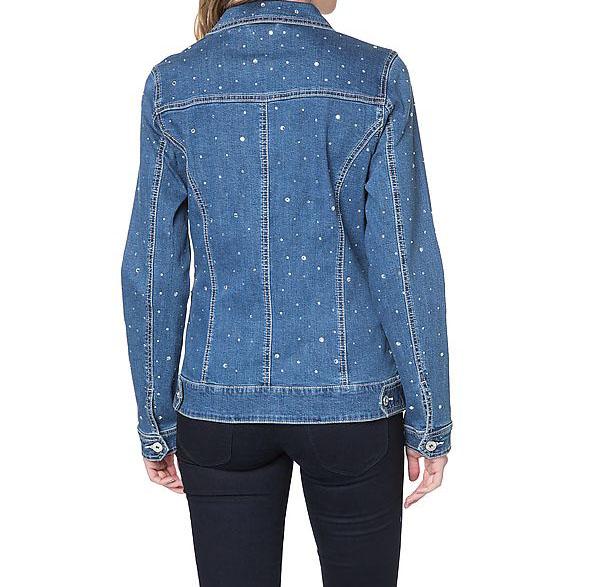 jeansjacke mit strasssteinen koralle gr 50 uvp 69 98 ebay. Black Bedroom Furniture Sets. Home Design Ideas