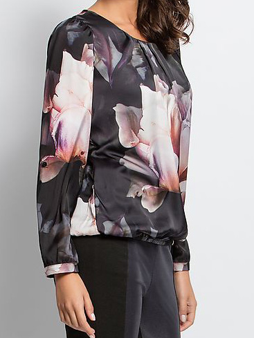 bluse mit druck bundsaum mit gummibund schwarz. Black Bedroom Furniture Sets. Home Design Ideas