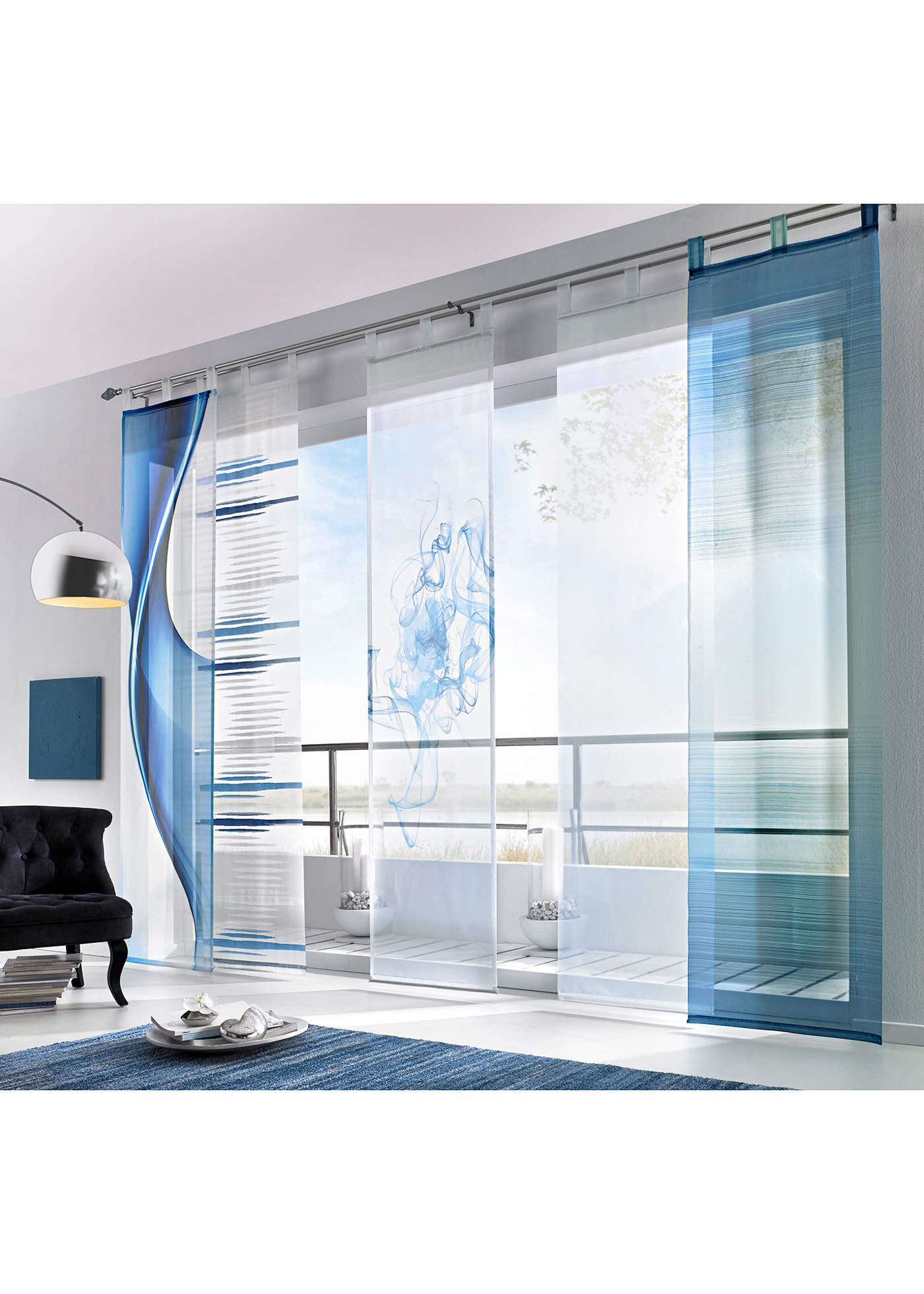 schiebegardine julian klettschiene blau h b. Black Bedroom Furniture Sets. Home Design Ideas